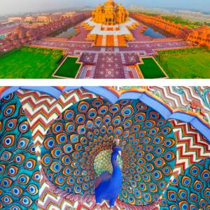 Monumento da cidade e o Pavão, pássaro simbolo da Índia.